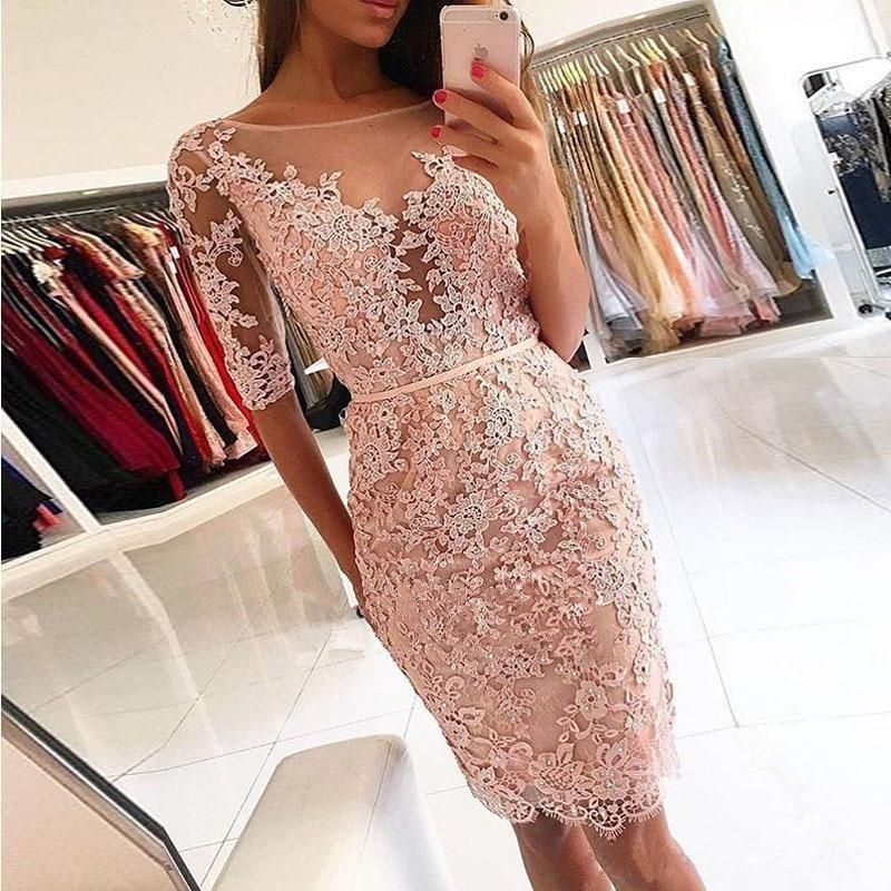 e74d80fa14e Pink Lace Applique Half Sleeve Knee Length Bodycon Homecoming Dresses