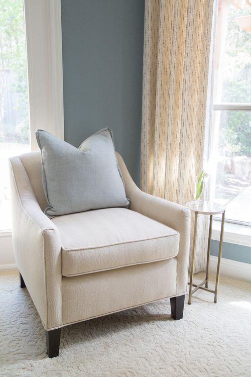 Bedroom chair, window, table   Interior Designer: Carla Aston / Photographer: Tori Aston
