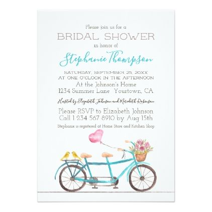 Watercolor tandem bicycle bridal shower invitation shower watercolor tandem bicycle bridal shower invitation shower invitations bridal showers and floral invitation filmwisefo Choice Image
