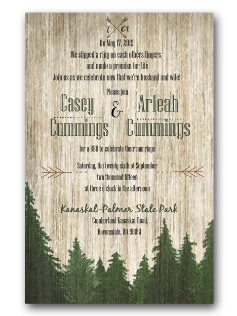Pine Trees Wedding Invitation Natural Wedding Outdoor Wedding