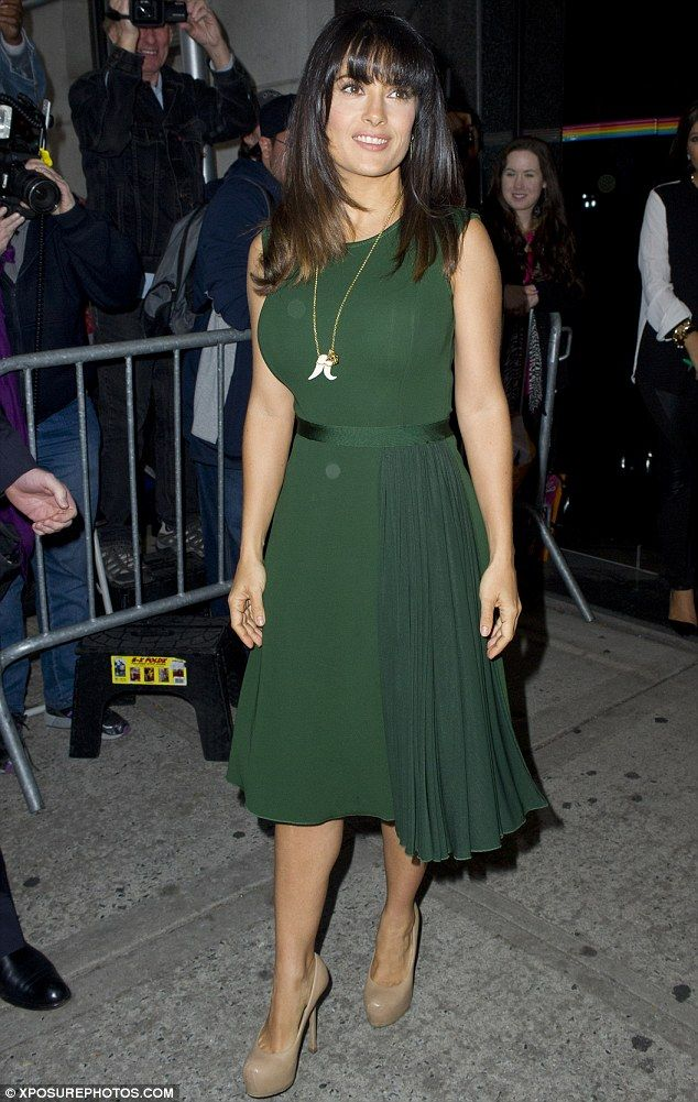 Making them green with envy: Salma Hayek showed off her softer side by displaying her curves in a floaty emerald dress for an appearance on The Wendy Williams Show in New York City on Thursday