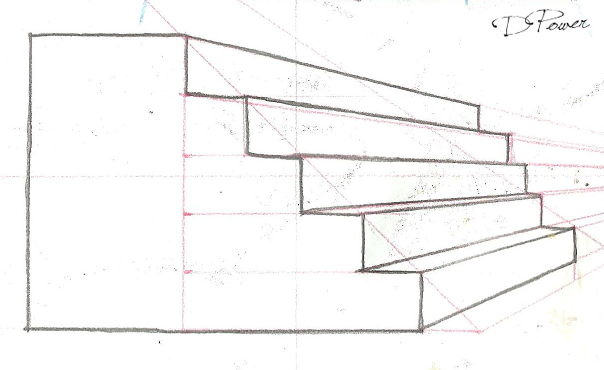 Drawing Stairs In 1 Point Perspe Ctive From The Side 2017 How To Draw Stairs Drawings Pencil Drawings