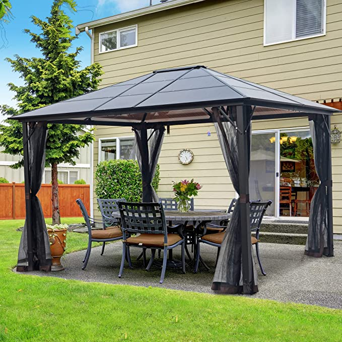 Amazon Com Asteroutdoor 10x12 Outdoor Hardtop Gazebo For Patios Metal Aluminum Frame Polycarbonate Top Canopy Wit In 2020 Hardtop Gazebo Aluminum Gazebo Patio Gazebo