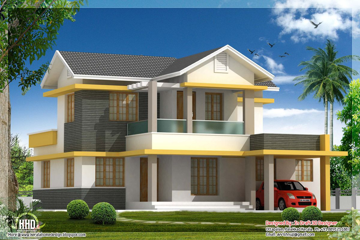 Beautiful bedroom house elevation in sq feet kerala for Elevation of kerala homes