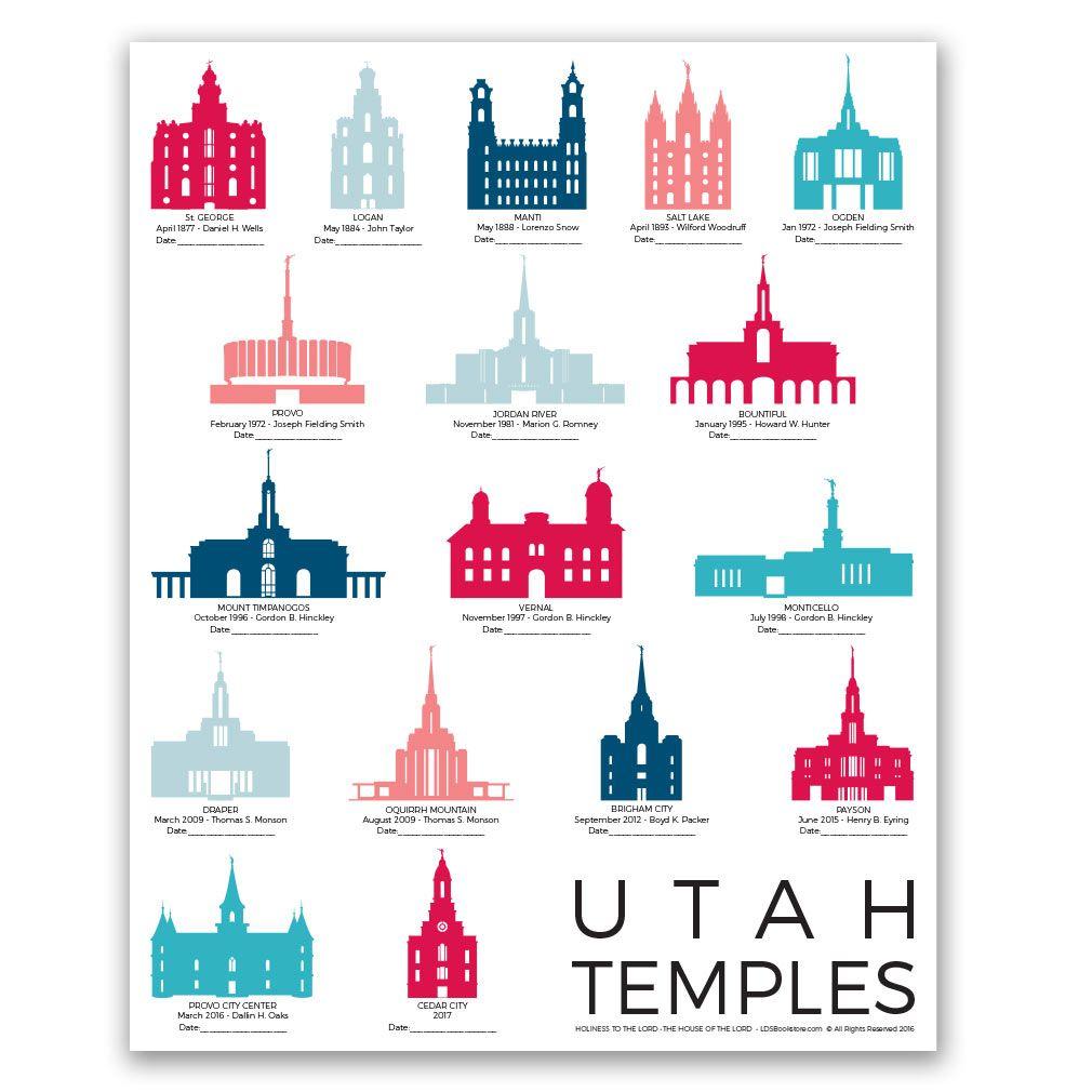 Utah Temples Tracker Poster - 5 Designs