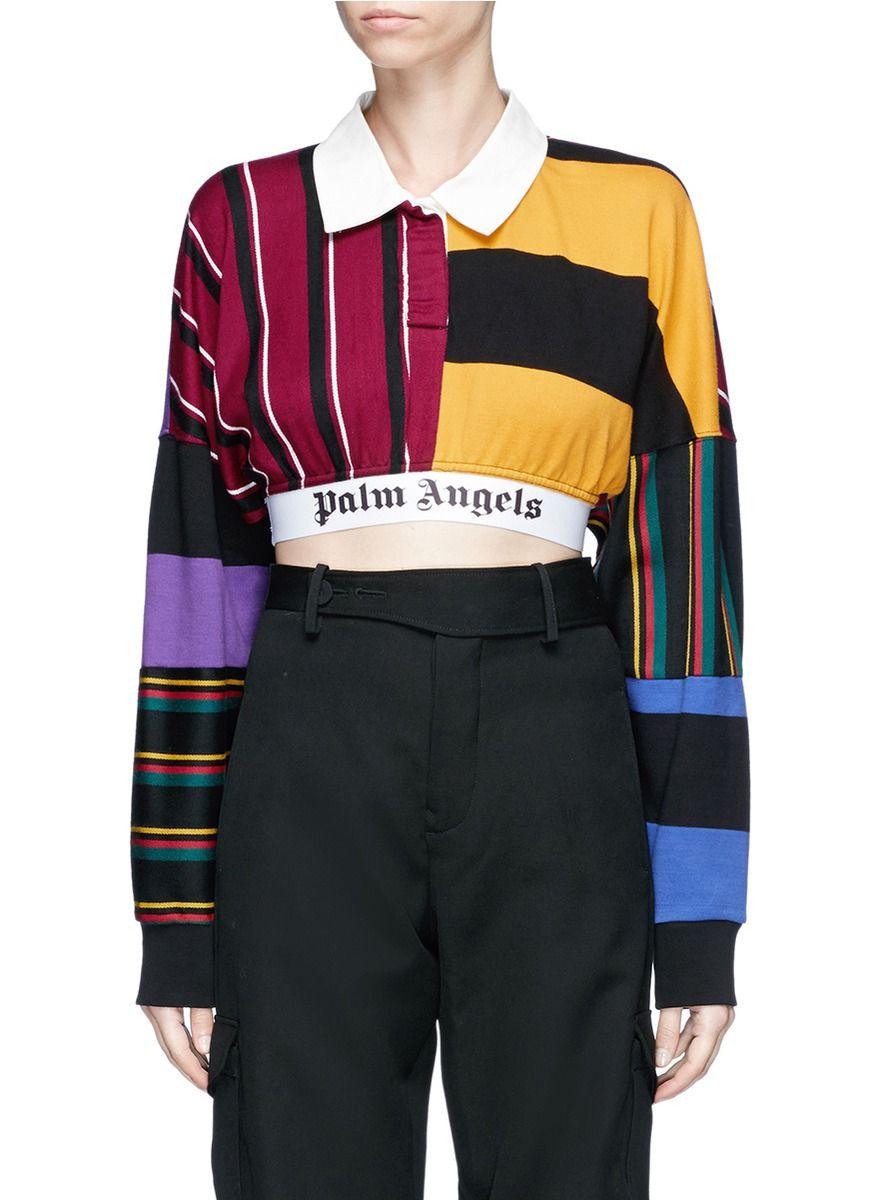 c038c258bdb PALM ANGELS Logo print stripe patchwork cropped polo top. #palmangels  #cloth #