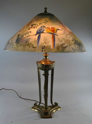 1920 S Pairpoint Reverse Painted Table Lamp With Tropical Birds