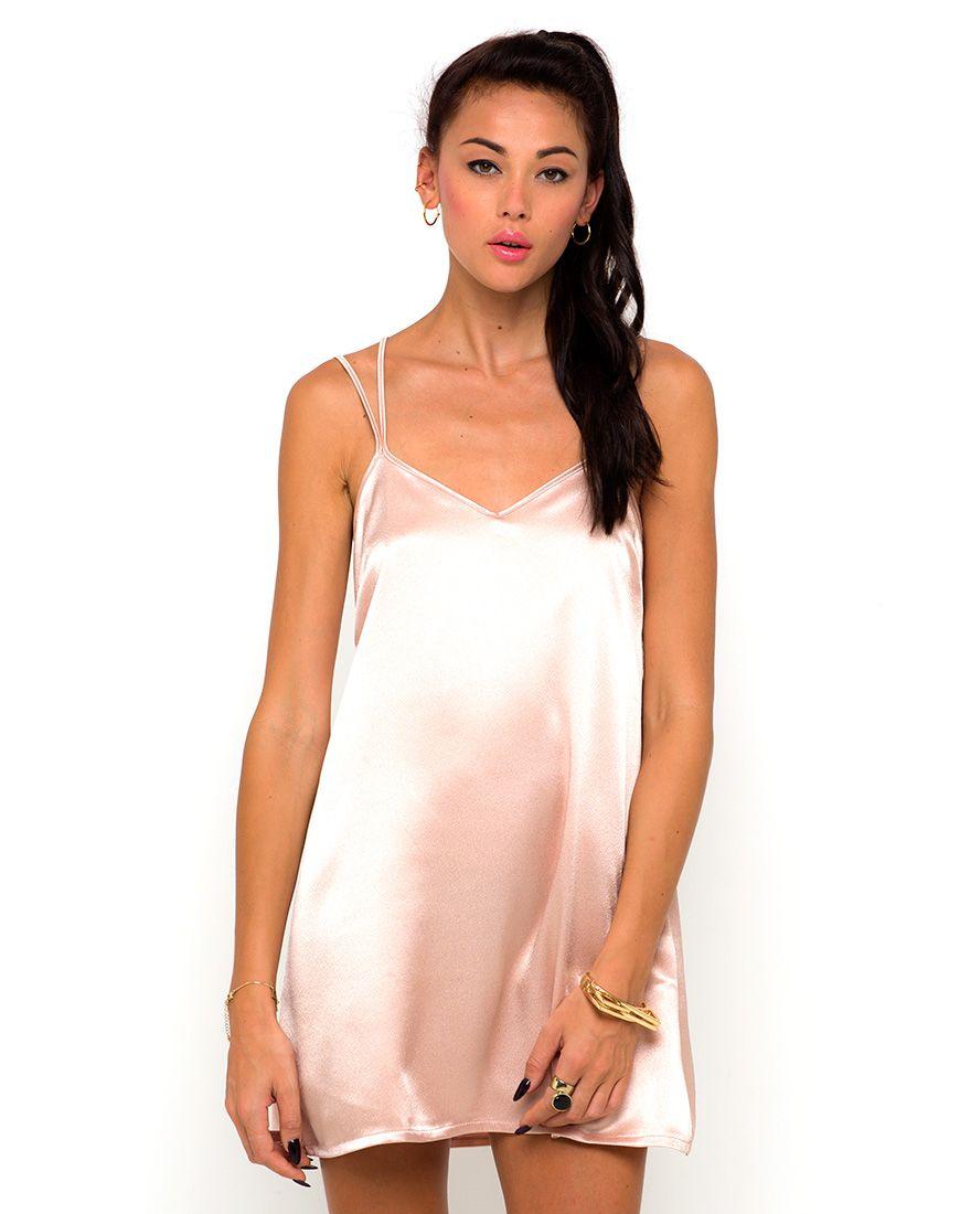 Motel Wren Cross Back Slip Dress in Nude, TopShop, ASOS, House of ...