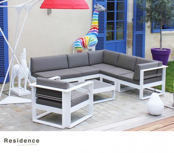 Salon bas modulable CANBERRA : 1 fauteuil, 1 angle, 1 angle double ...