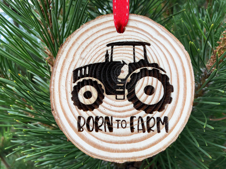 John Deere Christmas Ornament 2020 Wooden Christmas Ornament Born to Farm Green Tractor John | Etsy