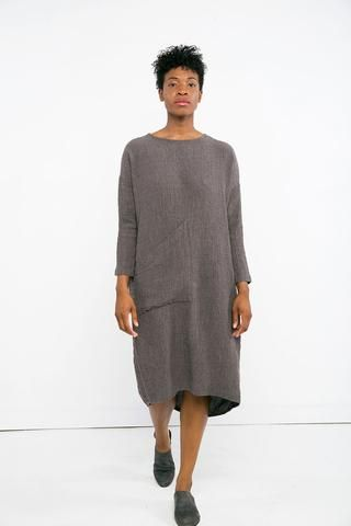 43b51a1b70 Long Sleeve Harper Dress in Linen Gauze Charcoal
