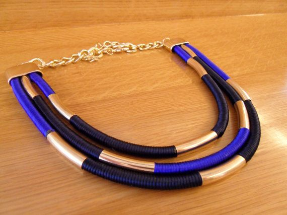 Multi strand colorful necklace  Rope statement by marizasShop