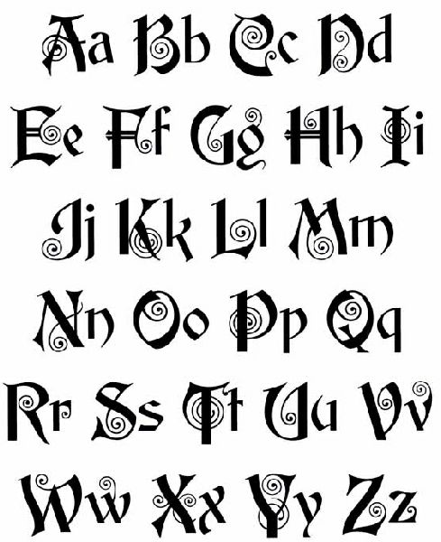 Celtic lettering old english tattoos art