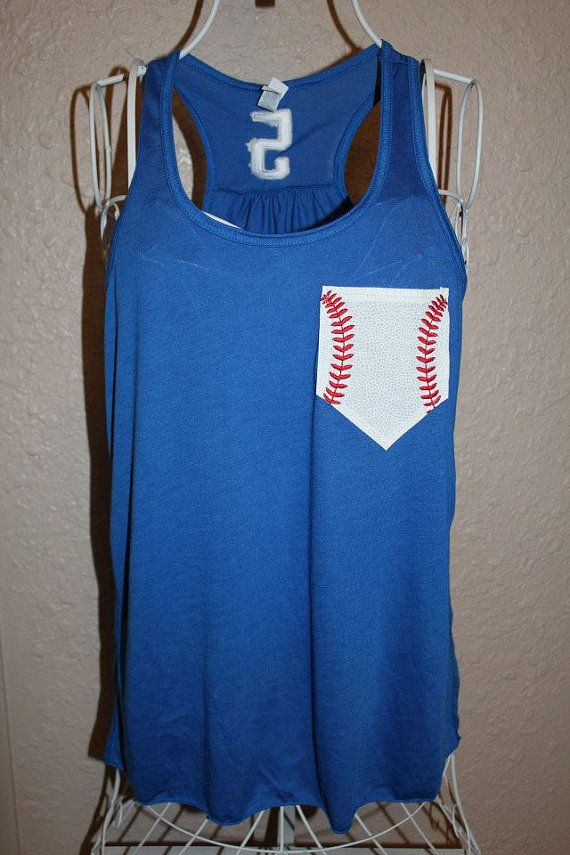 Photo of Baseball Mom Tank, Baseball Mom Shirt, Baseball Pocket Shirt, Baseball Embroidery, Custom Personalized Baseball Mom Racerback Loose Tank