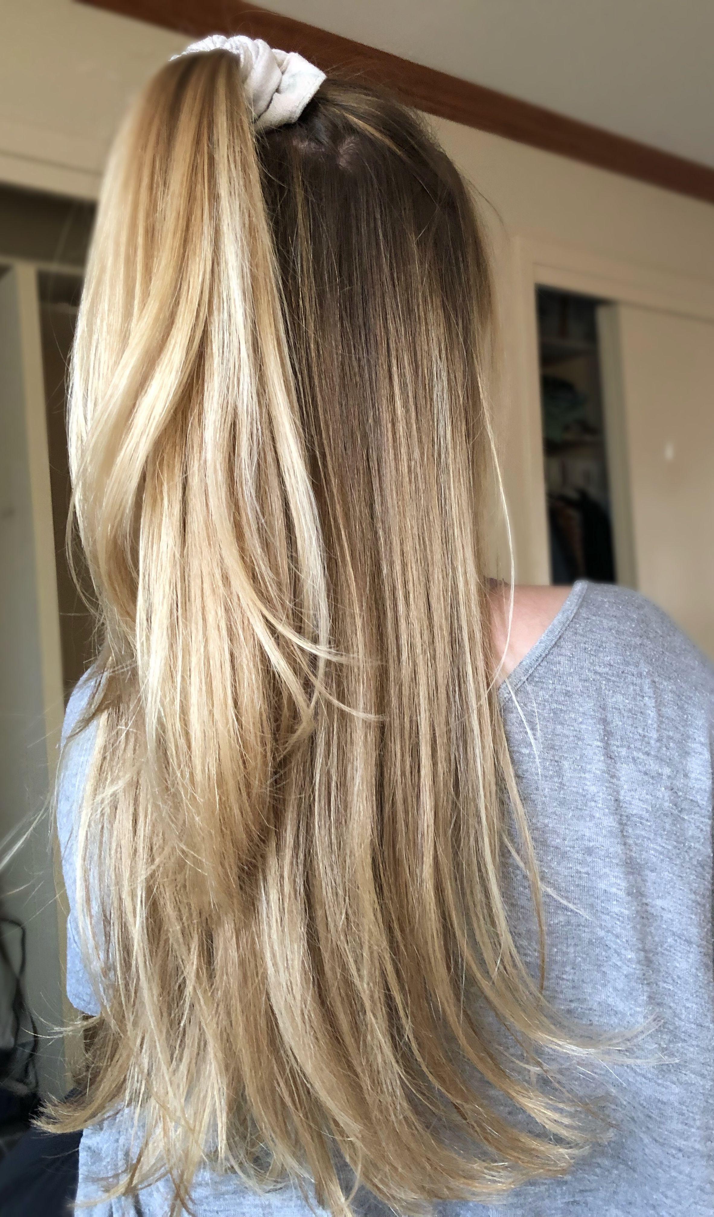 White blonde brown roots balayage updo ponytail summertime makeup ...