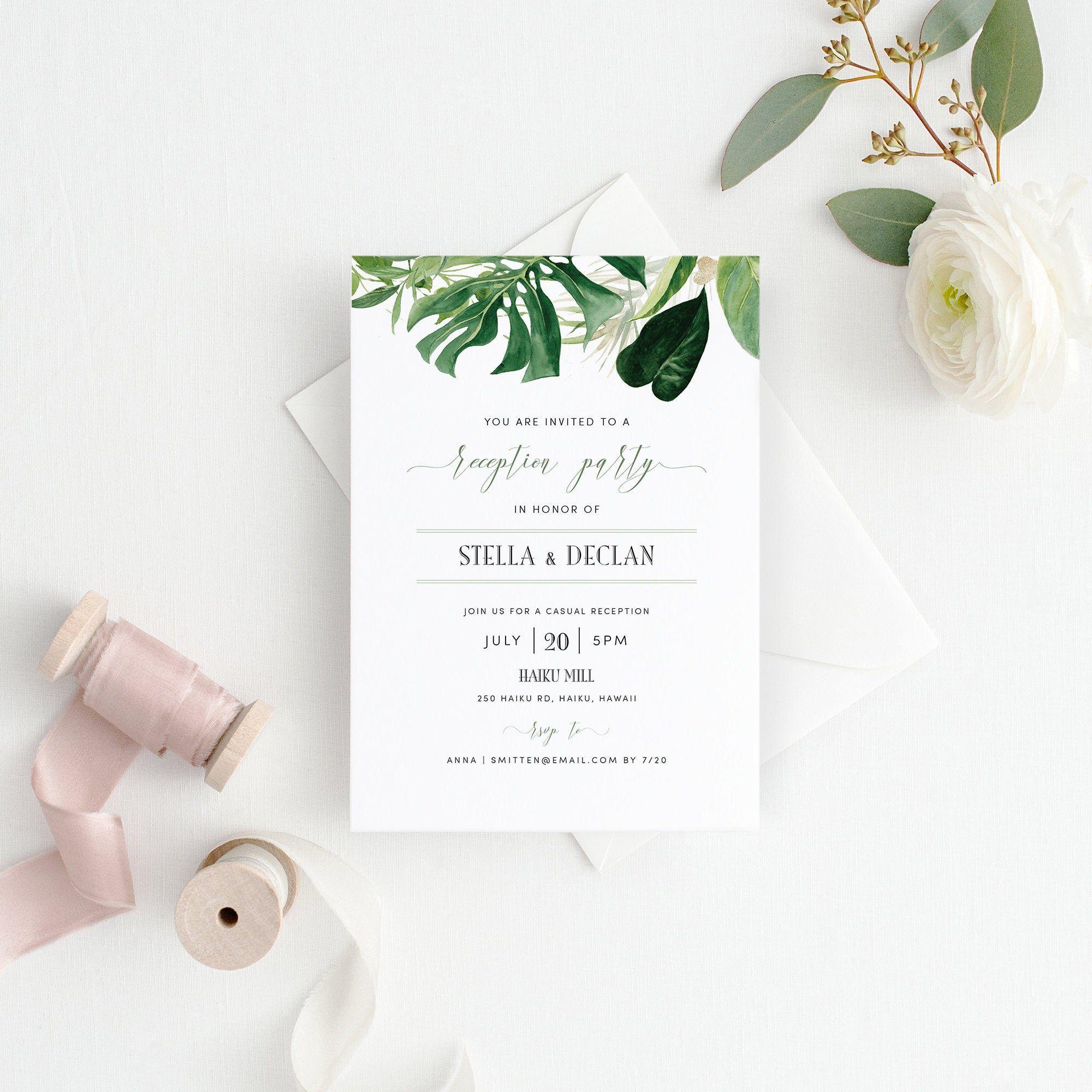 Hawaiian Greenery Wedding Reception Invitation Template Etsy Wedding Reception Invitations Reception Invitations Reception Card