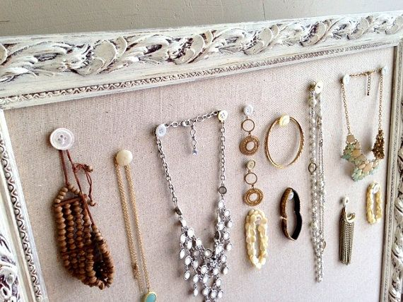 JEWELRY Wall ORGANIZER Linen Pinboard LARGE Fabric Cork Board