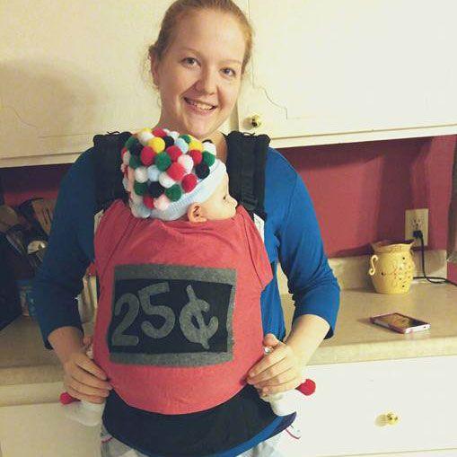 Babywearing Halloween costume: Gumball Machine