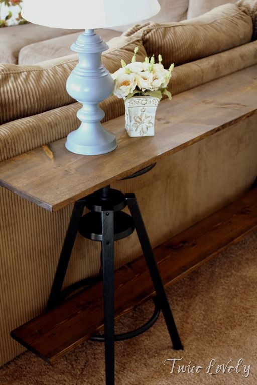 A Great Way To Use A Stool From Ikea Meuble Derriere Canape