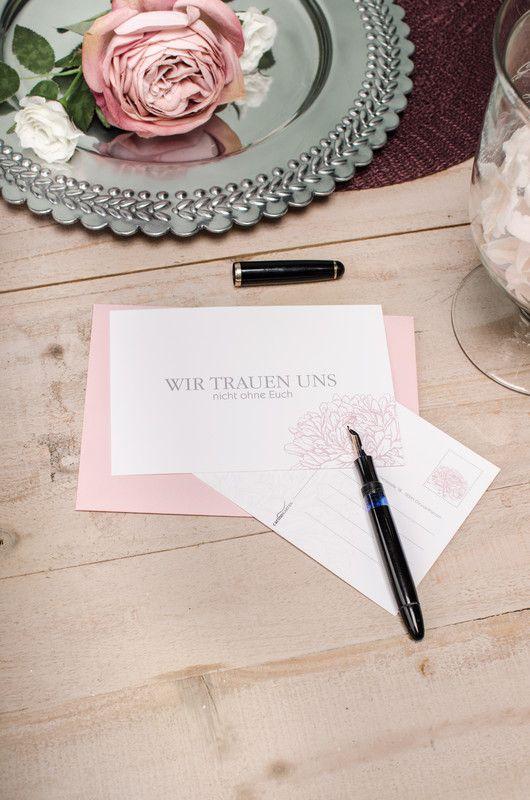 Elegante Save the Date zur Hochzeit mit stilisierten Pfingstrosen