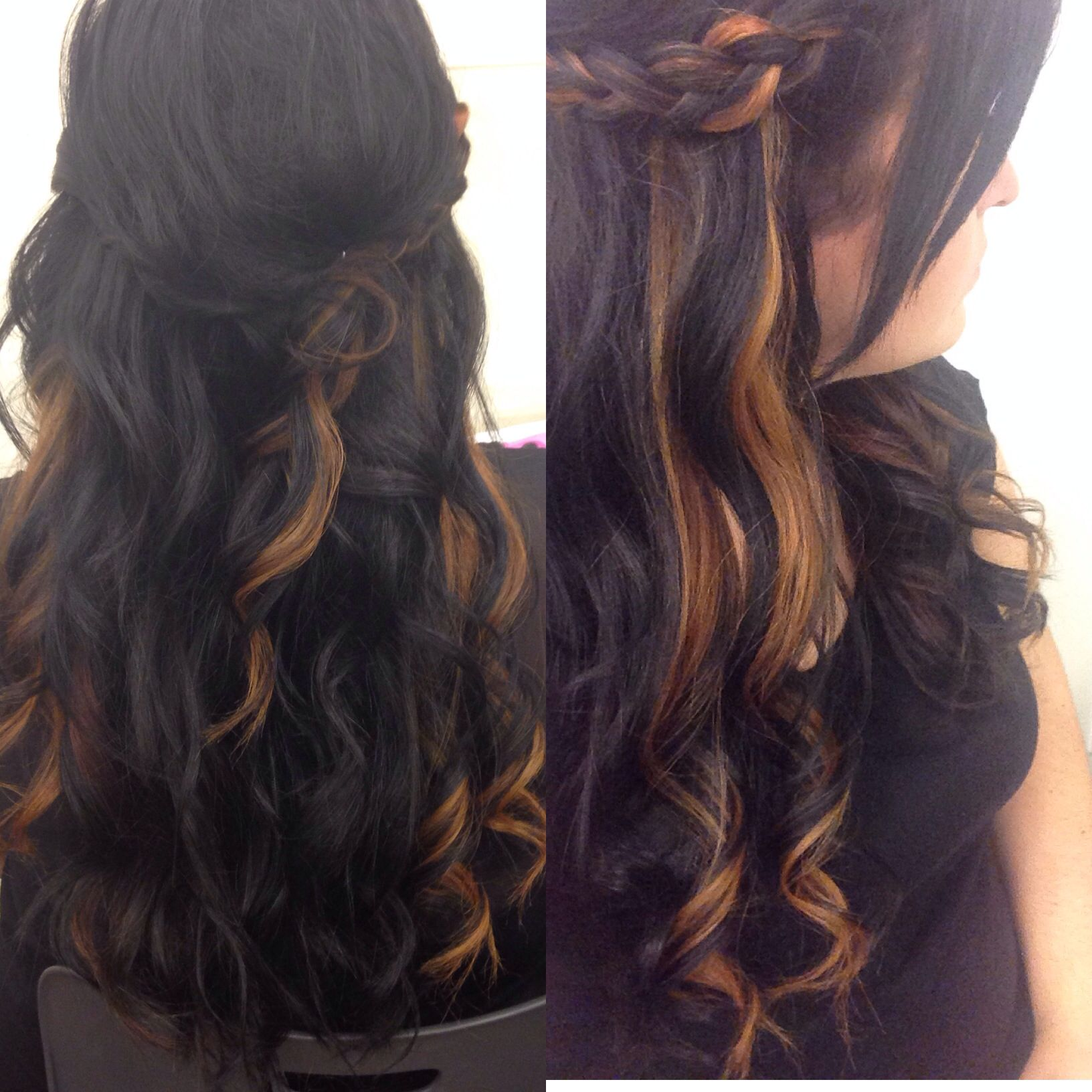 peekaboo highlights caramel highlights braid and wand