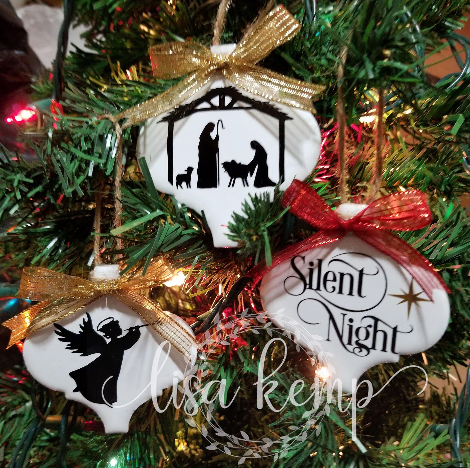 Set Of 3 Silent Night Nativity Mini Lantern Tile Ornament Etsy In 2020 Vinyl Christmas Ornaments Christmas Ornament Crafts Christmas Ornaments Homemade