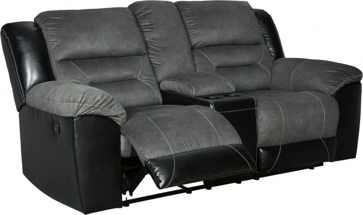 Earhart Slate Double Reclining Loveseat With Console In 2020 Love Seat Recliner Leather Reclining Loveseat