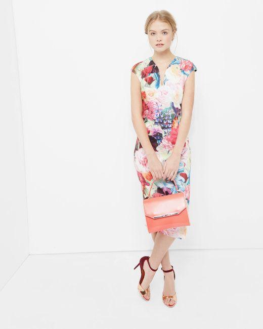 565ee1bd1b020 Floral Swirl print bodycon dress - Fuchsia