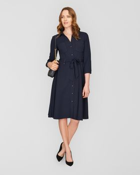 Belted Shirt Dress,Navy,original - 2