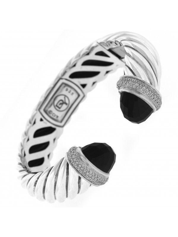 a2ac54a0754ea David Yurman Silver 15mm Waverly Diamond   Black Onyx Hinged Kick Cuff  Bracelet