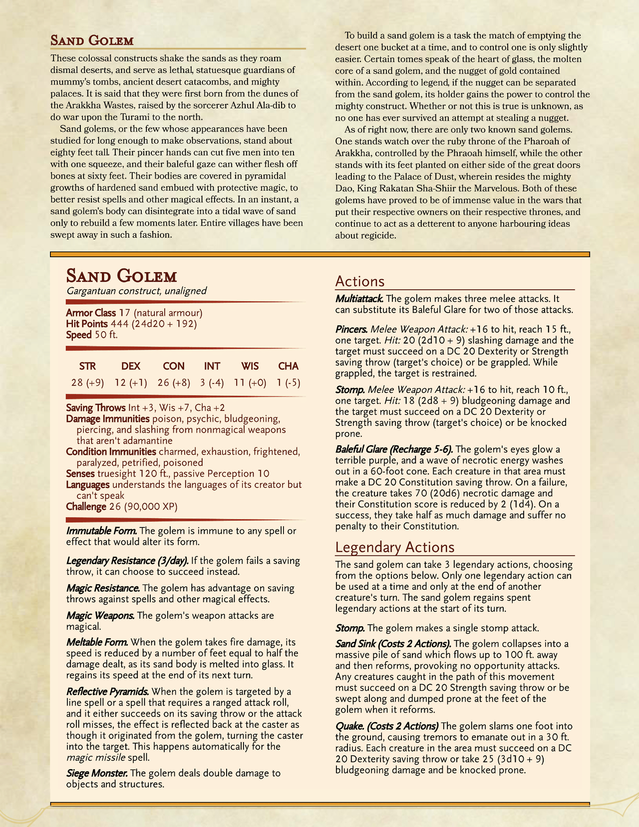 Sand Golem - could work needs investigating | D&D Stats 50+ in 2019