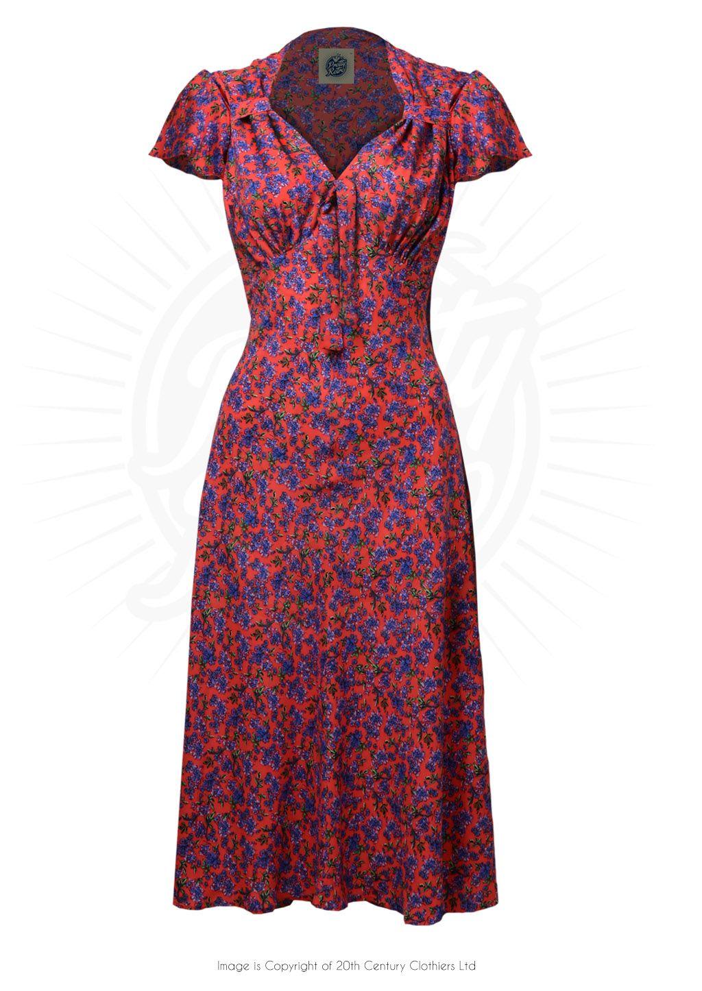 3b06edcfe473 Pretty 40s Style Tea Dress in Red Ditsy Print