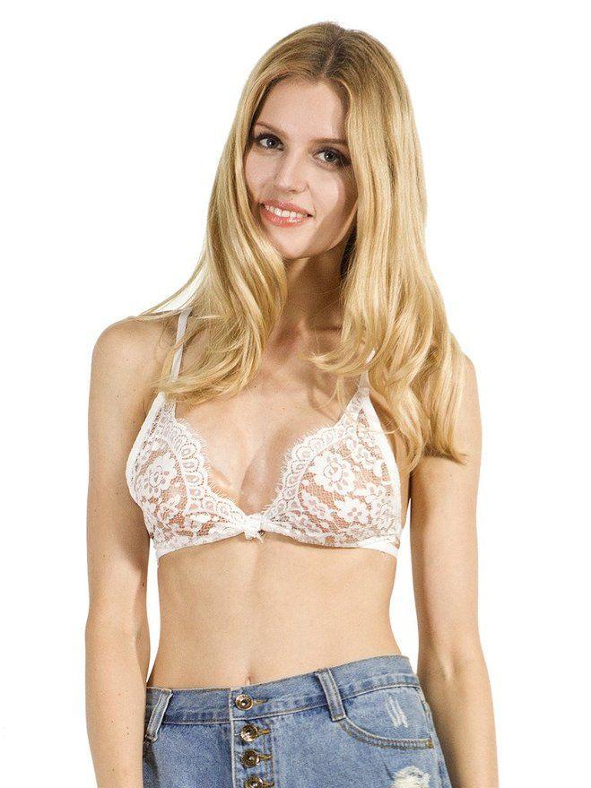 d23232ac66 Choies Women s White Spaghetti Strap Button Front Lace Bra Lace Beach Crop  Top Vest S