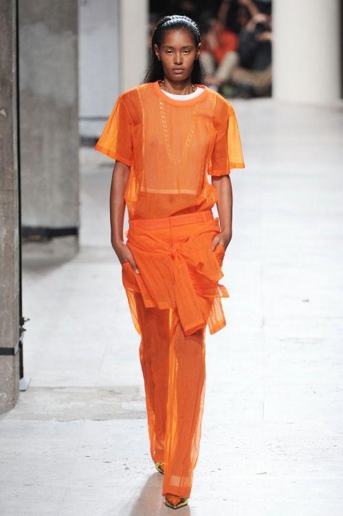 A head-to-toe tangerine dream at Barbara Bui's spring/summer 15 show during #PFW. #colouroftheweek