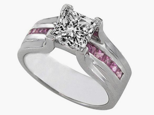 Princess Cut Diamond Bridge Engagement Ring Setting With Pink Shire 0 45 Tcw In 14k White Gold