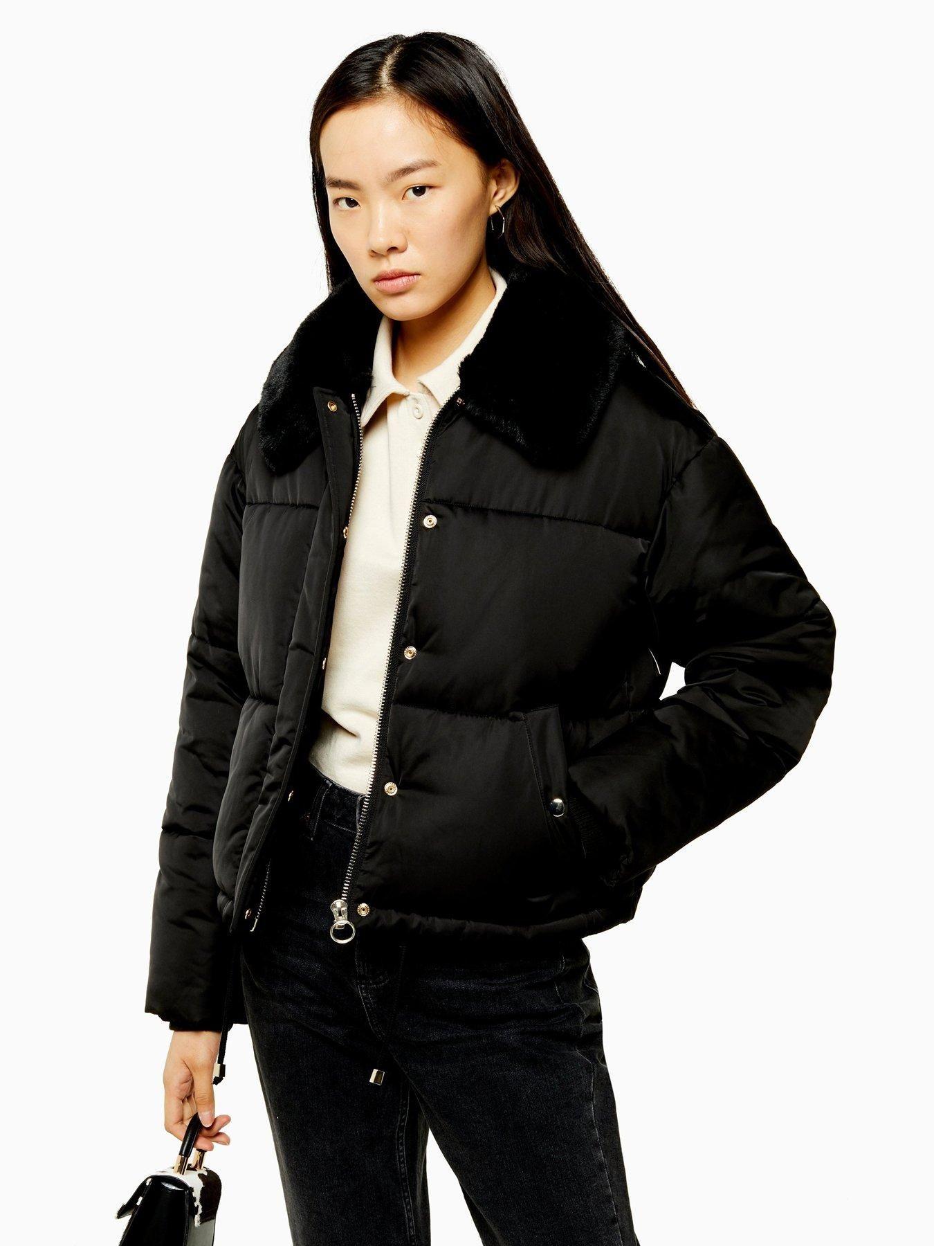 Faux Fur Trim Padded Jacket Black in 2020 Faux