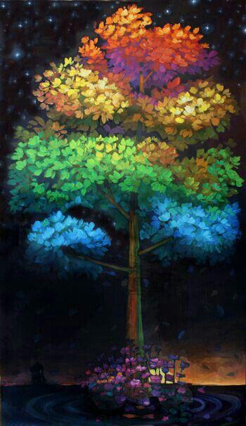 Rainbow Tree Med Billeder Farverig Billeder Malerier