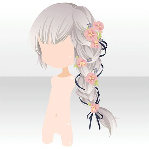 anime hair braid with flowers