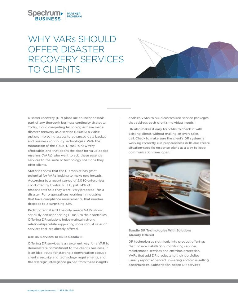 Why VARs Should Offer Disaster Recovery Services to
