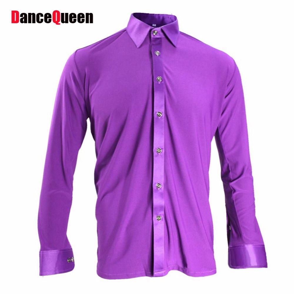 Click to Buy << 2017 Latin Dance Shirt Men Ballroom Dance Toops ...