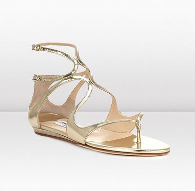 a610fa9fc42b Jimmy Choo- LEJA  795.00 Gold Mirror Leather Flat Sandals  JimmyChooHeels