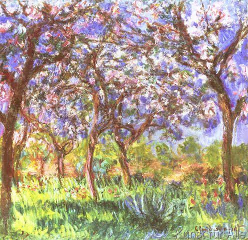 Claude Monet Fruhling In Giverny 1903 Kunstdruck Leinwandbild Glasbild Art Francais Printemps Lever De Soleil