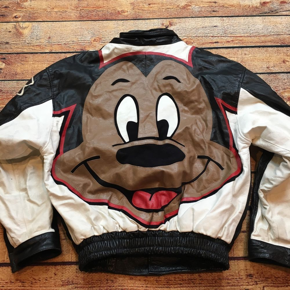 90s VTG BLACK MICKEY MOUSE LEATHER Jacket L HIP HOP BIG