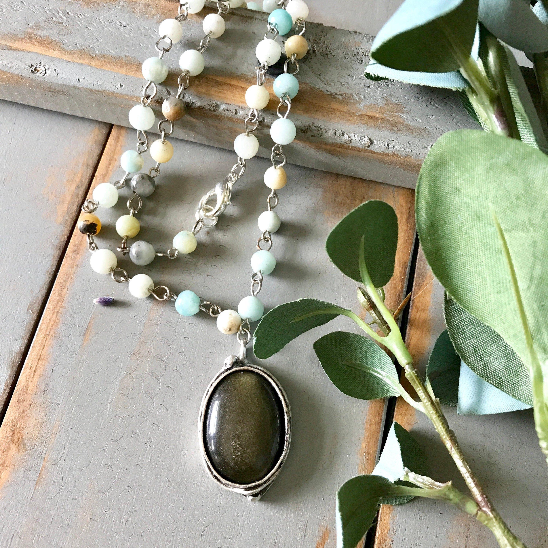 Photo of Gold Obsidian Anhänger Halskette, Gold Obsidian Silber Lünette, Gold Obsidian Anhänger, Amazonit Perlenkette, blaue Perlenkette