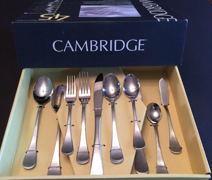 NEW Cambridge Silversmiths Bailey Satin Flatware 45 Piece Service For 8 # Cambridge