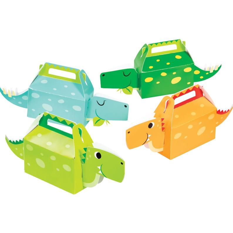 T-Rex Roar Party 12PK Pack Dinosaur Party Supplies Favor Boxes Goodie Gift Toy Treat Boxes for Kids Boys Dinosaur Theme Birthday Party Jurassic World Party Supplies