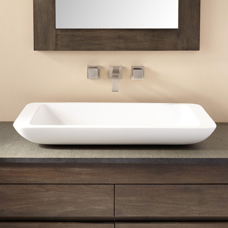 Alanna Large Matte Resin Vessel Sink In 2021 Rectangular Vessel Sink White Vessel Sink Vessel Sink