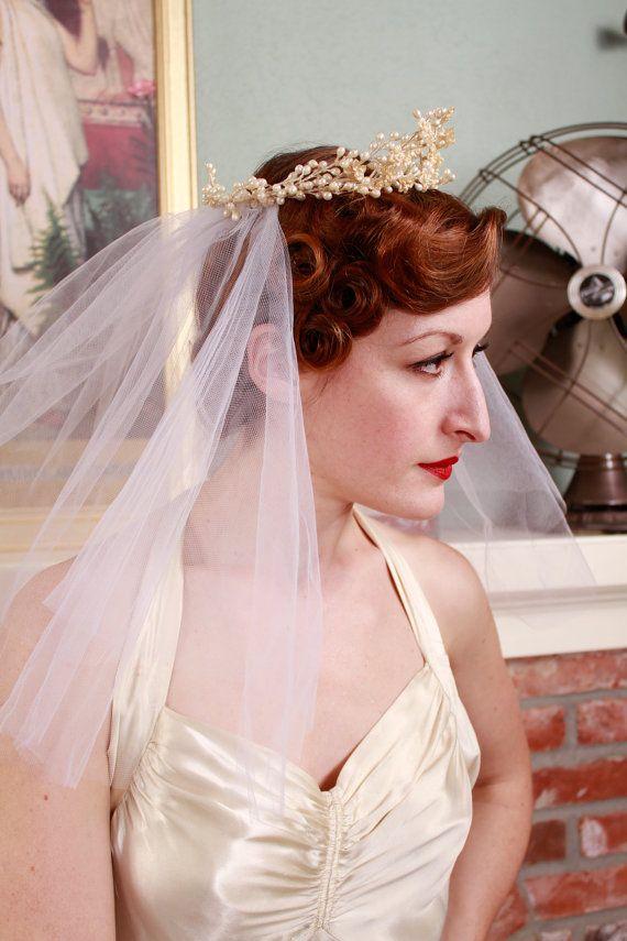 Vintage 1930s Wedding Veil Antique Wax Flower Crown By Fabgabs Wax Flower Crown Flower Crown Veil Old Hollywood Wedding