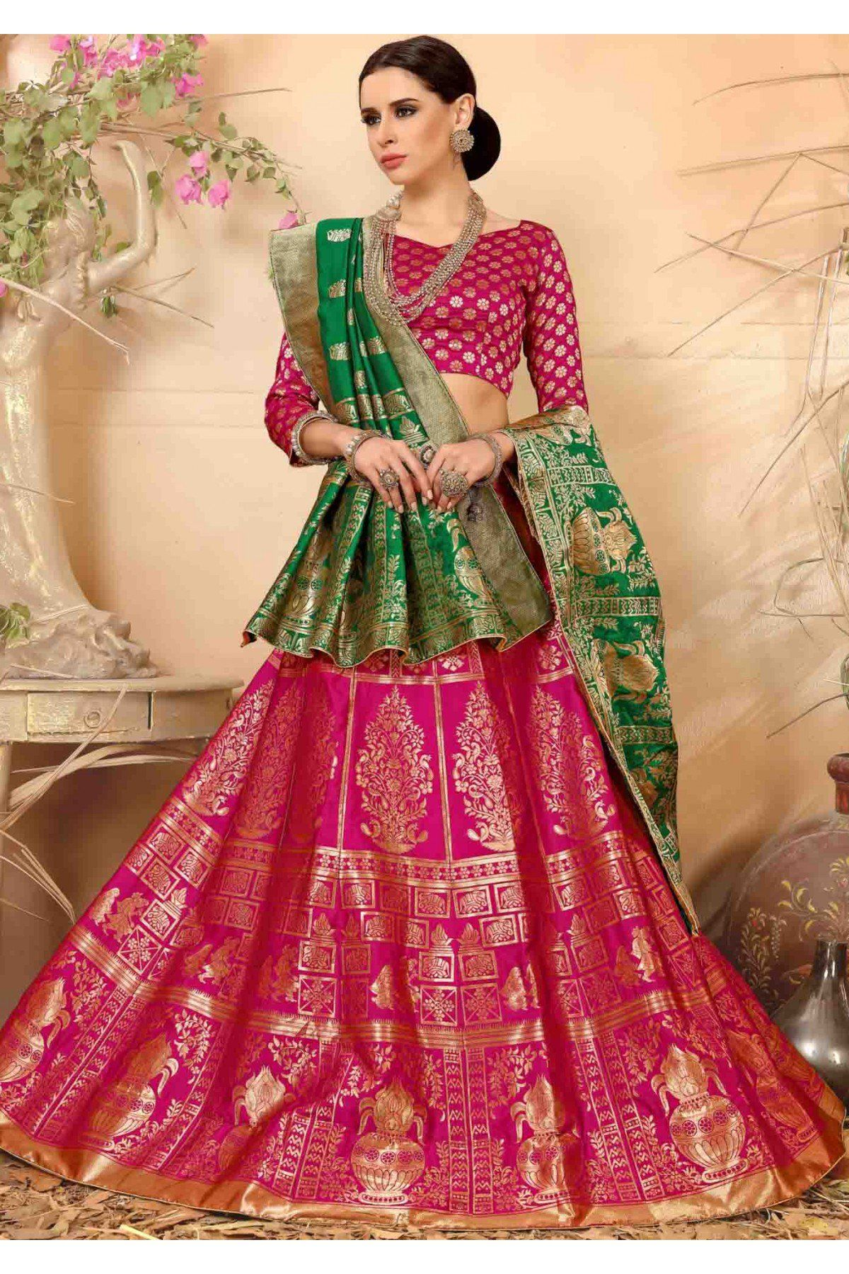 fb07dc26fd Buy Banarasi Silk Lehenga Choli In Pink Colour @ ninecolours.com. Customize  Tailoring available!