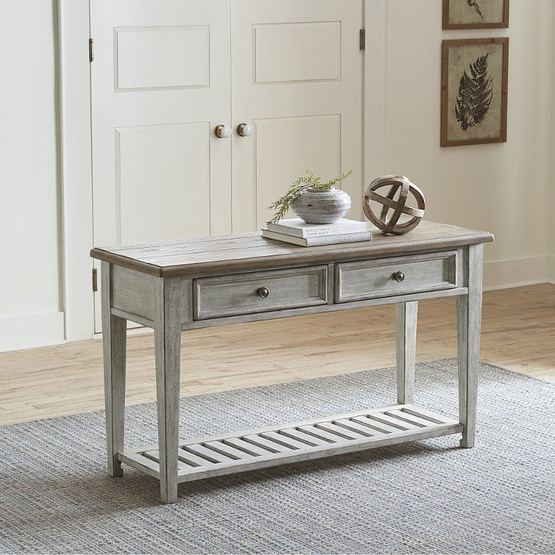 Weathered White Oak 2 Drawer Sofa Table Heartland White Sofa Table Modern Console Tables Sofa Table With Drawers